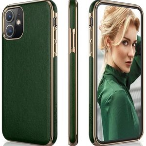 NWT Deep green leather & gold trim iPhone 11 case